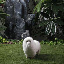 Chinese Zodiac Figurine Luck Sheep Farm Animals Figurine Simulation Furry Sheep