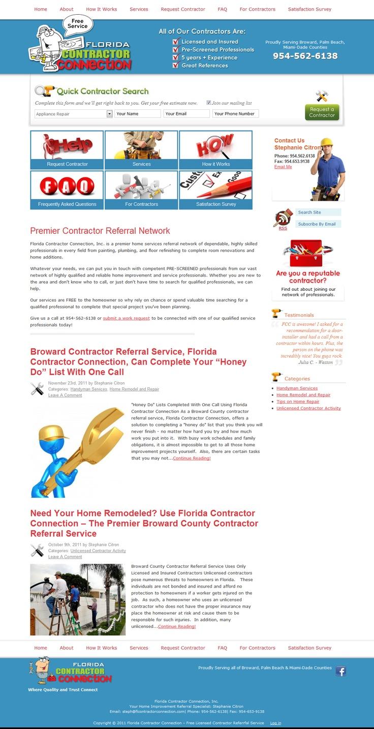 FloridaContractorConnection.com:  Internet Site, Web Site, Estates Website