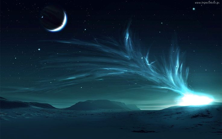 Zorza, Polarna, Księżyc, Gwiazdy, Zima, Morze, Wybrzeże