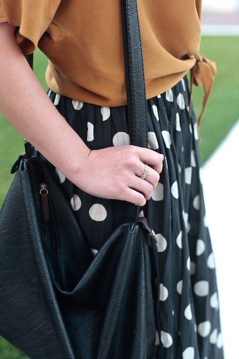 Ann Do, designer. Gorman top, Gorman skirt, Zara flats, bag from Shanghai, ring from Brooklyn, Uniform Wares watch.