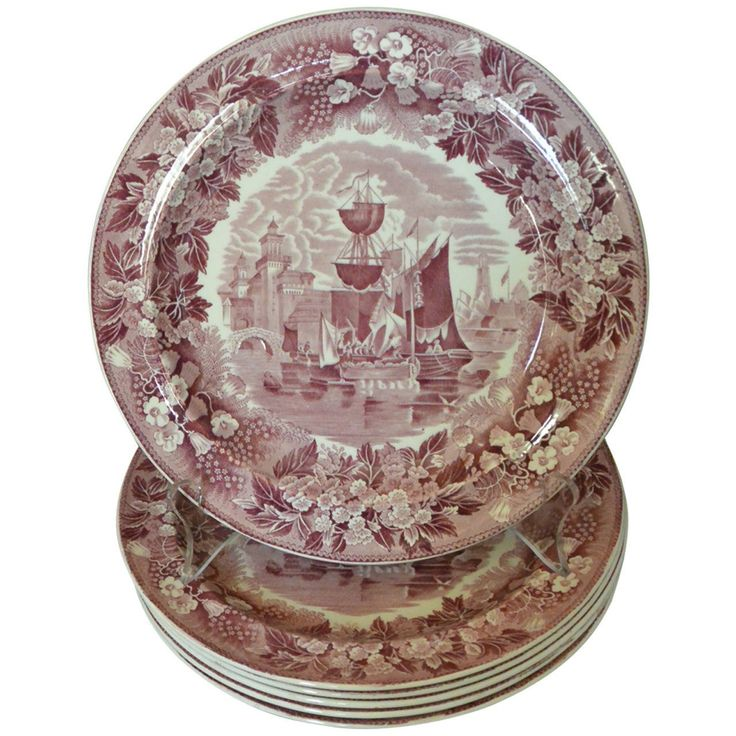 Set of Six Wedgwood Ferrara Plates | From a unique collection of antique and modern dinner plates at https://www.1stdibs.com/furniture/dining-entertaining/dinner-plates/