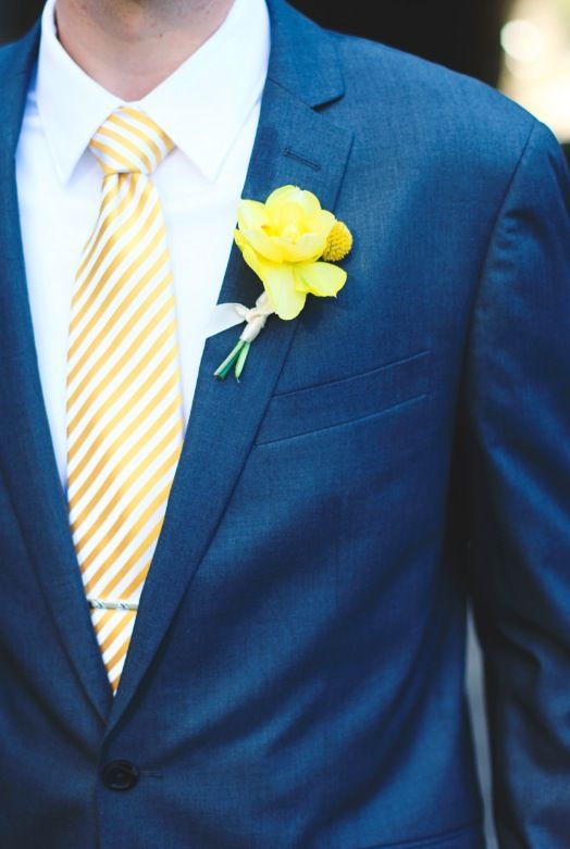 yellow tie groom grey suit white shirt yellow and white