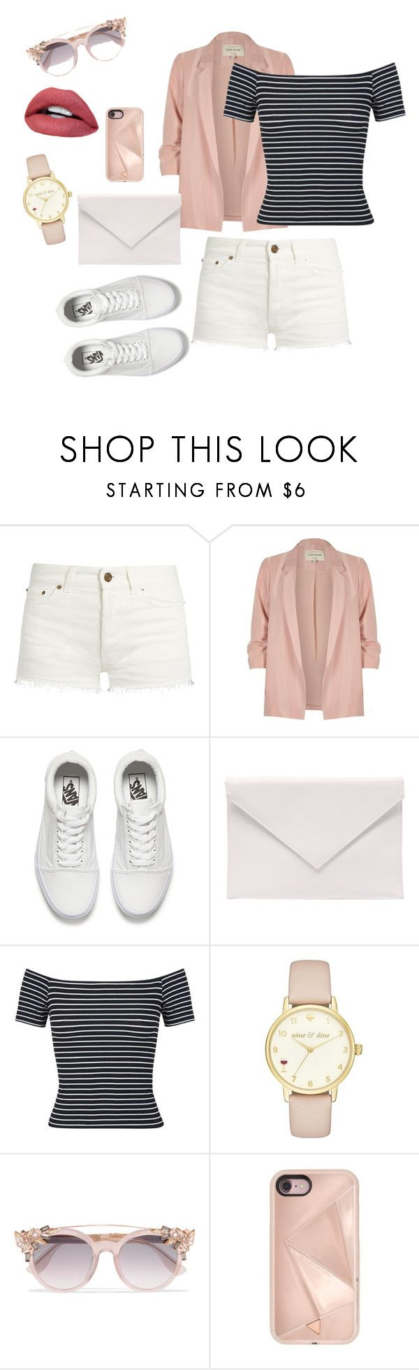 """Semi Casual Look"" by harshal-singhai ❤ liked on Polyvore featuring Yves Saint Laurent, River Island, Vans, Verali, Miss Selfridge, Kate Spade, Jimmy Choo and Rebecca Minkoff"