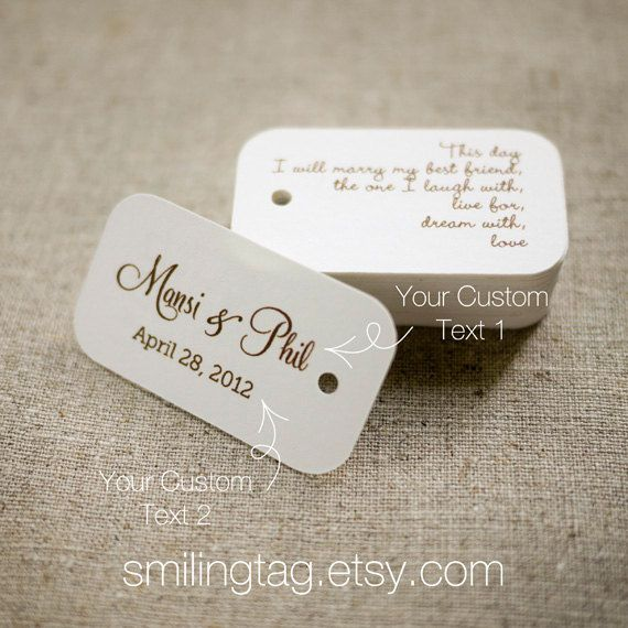 On This Day Personalized Gift Tags - Wedding Favor Tags - Thank you tags - Hang tags - Wedding Gift Tags - Set of 40 (Item code: J282). $20.00, via Etsy.