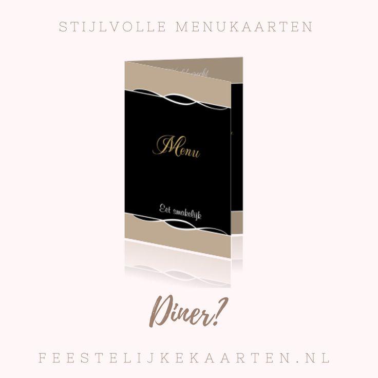 Stijlvolle menukaarten maken voor een huwelijk, bruiloft of communie met sierlijke strepen. Originele kaartjes voor een feest in een restaurant op tafel.
