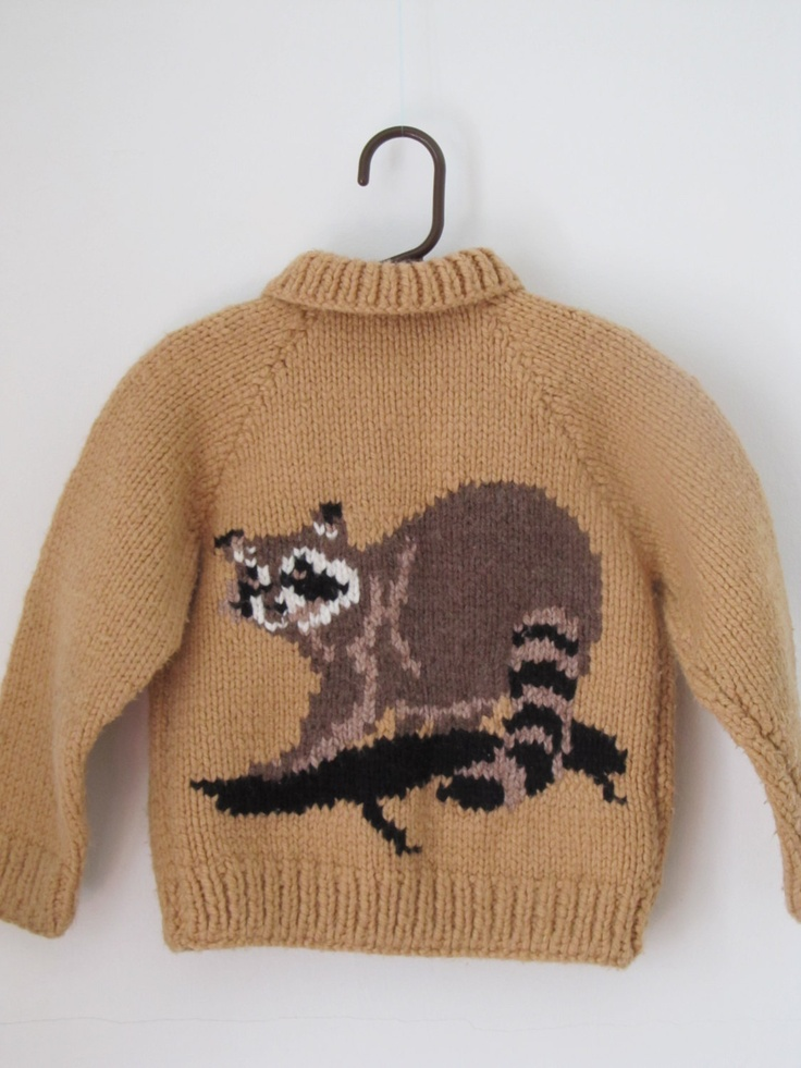 child 39 s cowichan hand knit wool sweater with a racoon on front and back wool children and jackets. Black Bedroom Furniture Sets. Home Design Ideas