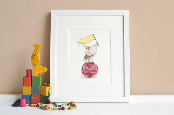 Balancing Ball Elephant, Kid's circus picture, Children's fun fair, Circus animal Art, Circus theme nursery, Carnival Illustration