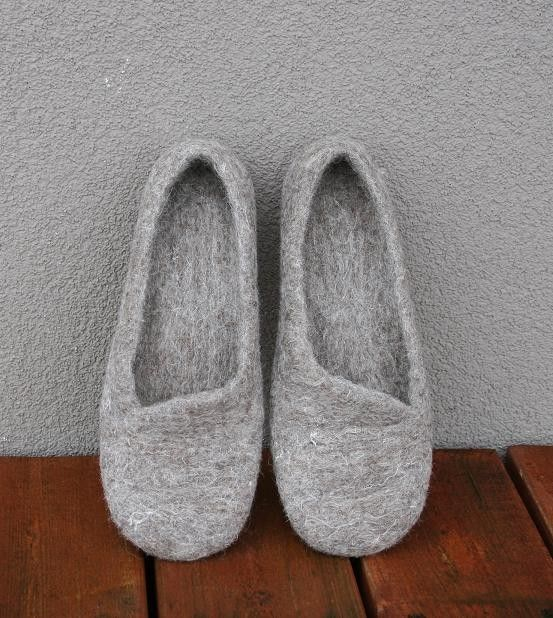 Women house shoes, felted slippers, Eco, handmade, made to order. $59.00, via Etsy.
