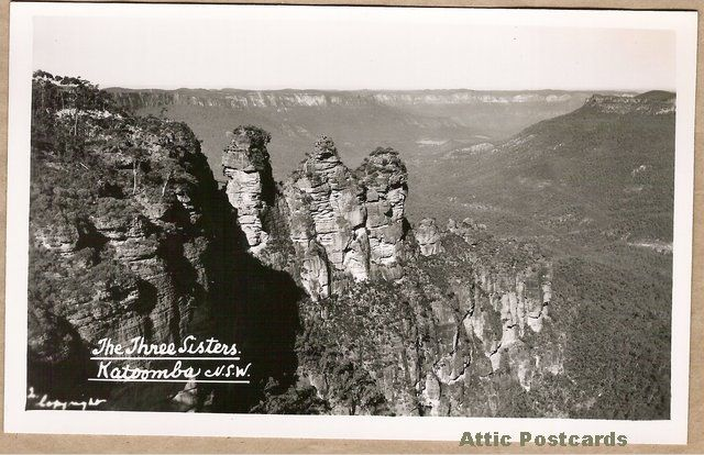 Vintage real photo postcard of The Three Sisters in the Blue Mountains of New South Wales, Australia. Mowbray Series 'Scenic and Historic Views'.