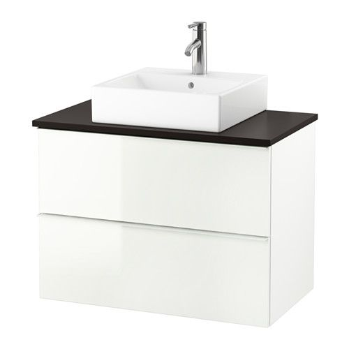 """IKEA - GODMORGON/TOLKEN / TÖRNVIKEN, Vanity, countertop and 17 3/4"""" sink, anthracite, high gloss white, , 10-year Limited Warranty. Read about the terms in the Limited Warranty brochure.Laminate countertops are highly durable and easy to maintain. A little care will keep them looking brand new for years.You can place the sink where you prefer – left, right or in the middle.Smooth-running and soft-closing drawers with pull-out stop.You can easily customize the size of t..."""
