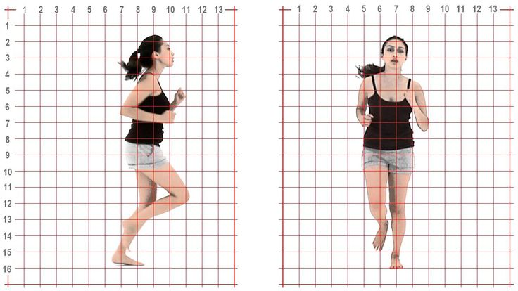 Jog: young adult female: Grid Overlay - Animation Reference