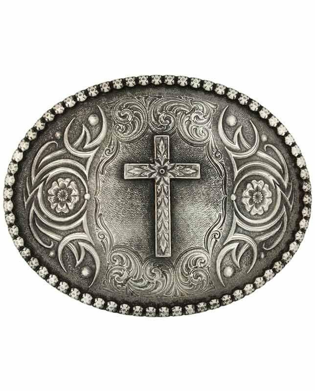 Montana Silversmiths Men's Silver Cross Belt Buckle