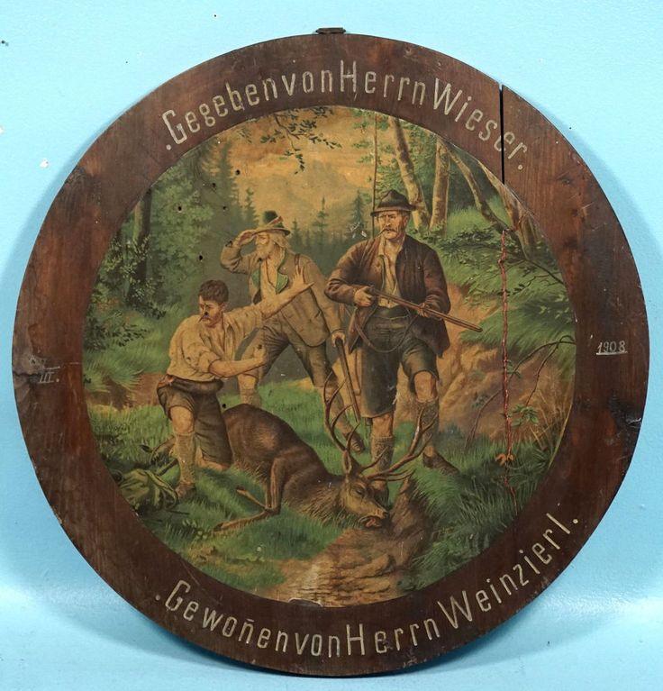 Antique German Black Forest Wood Carved Target Stag Hunt Chromolithograph 1908 #BlackForestHuntMotif