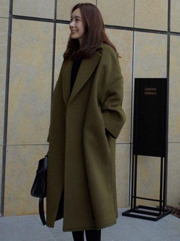 レディース ラシャ コート スーツの襟 長袖 無地 スリット カジュアル アウター - 安くて可愛いレディースファッション通販サイト∣fancy-style