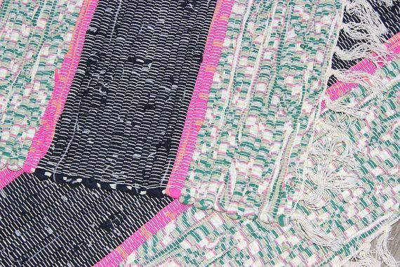 Really nice vintage small handwoven colorful Rag Rug / Carpet