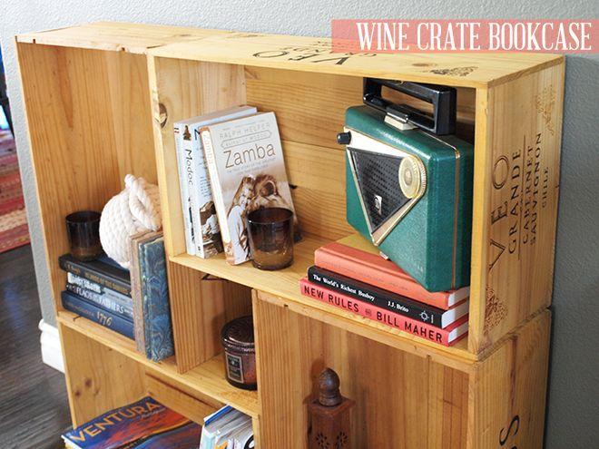 Wine crate bookcase this is more of a diy but also for Diy wine crates