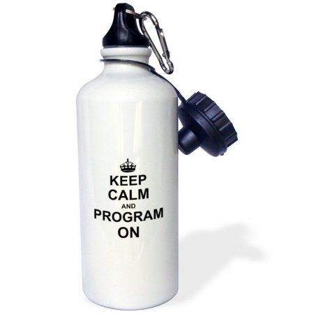 3dRose Keep Calm and Program on - carry on programming coding - Programmer job gifts - fun funny humor, Sports Water Bottle, 21oz