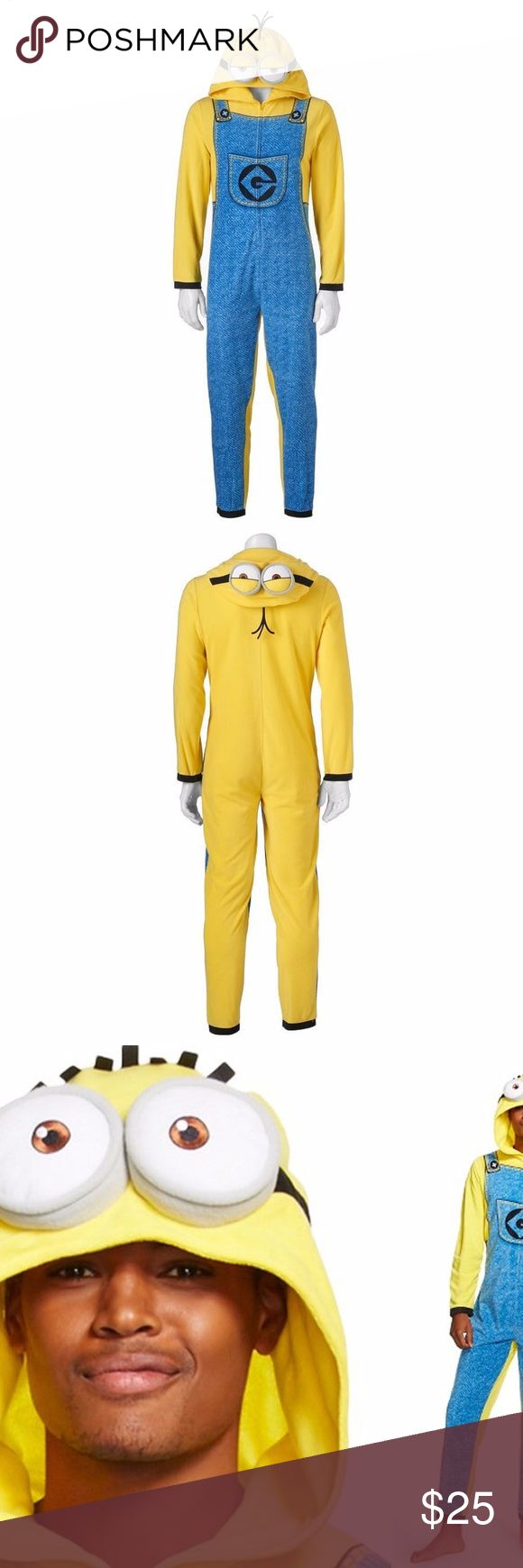 Adult Men Hooded Minion Fleece Pajamas Union Suit These men's Despicable Me Minion one piece hooded union suit pajamas are available in adult men's size L and XL. Comfy and fun for pj's, and can double as a Halloween costume too! Other