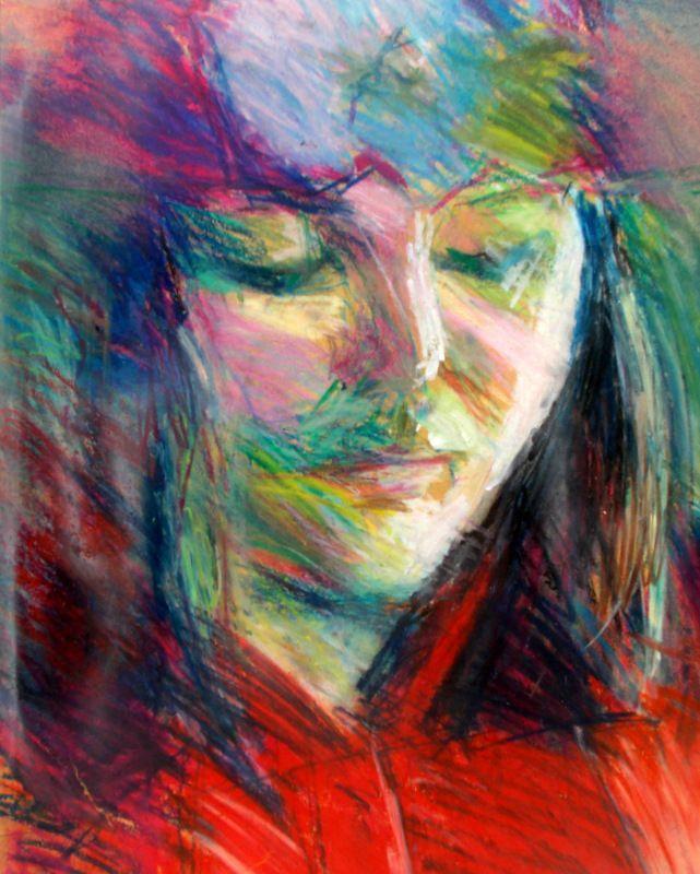 Nina Kentrou portrait of a girl oil pastel