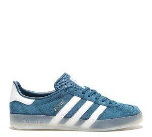 Nouvelle Homme Adidas Originals Gazelle Indoor Trainer Vrai Bleu Blanc Pas Cher Prix