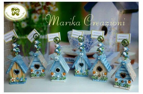 casette degli uccellini, portafoto bomboniere, Marika Creazioni in Pasta di Mais #casette #bomboniere  #uccellini #fattoamano