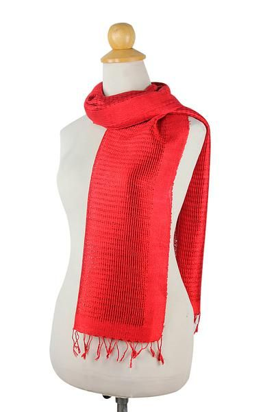Silk scarf, 'Cherry Supreme' - Red Silk Scarf (image 2a) pn weave $43