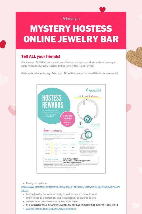 Mystery Hostess Online Jewelry Bar #February  #origamiowl #mystery #hostess #Free #lockets