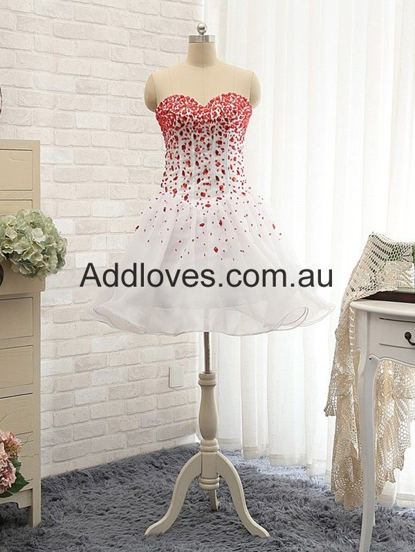 Sweetheart Red Short Organza Cocktail Dresses