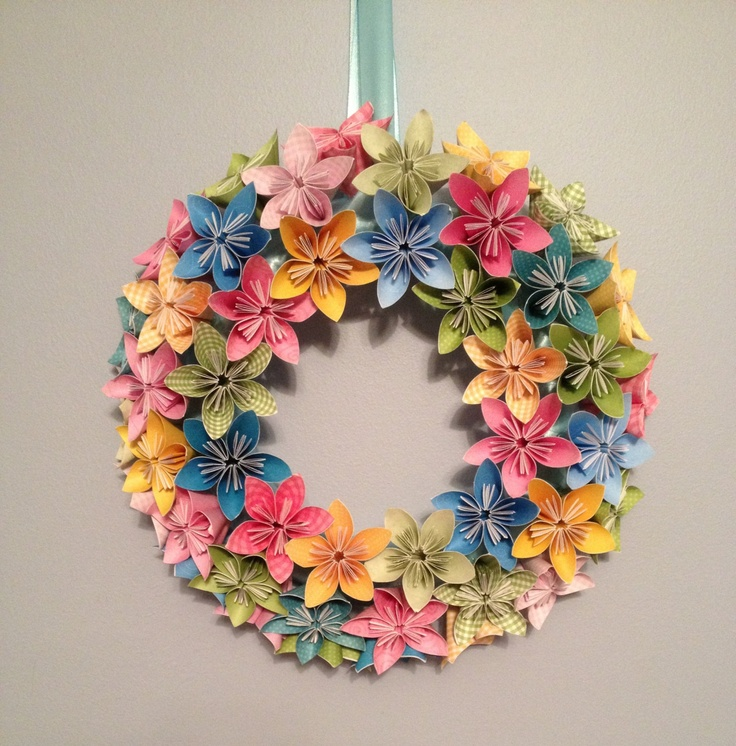 "Origami/Kusudama Spring Paper Flower Wreath 12""/ Flower Arrangement. $50.00, via Etsy."