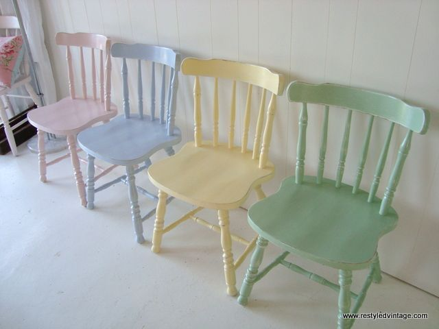 Restyled Vintage: Client Commission: Painted Pastel Dining Chairs