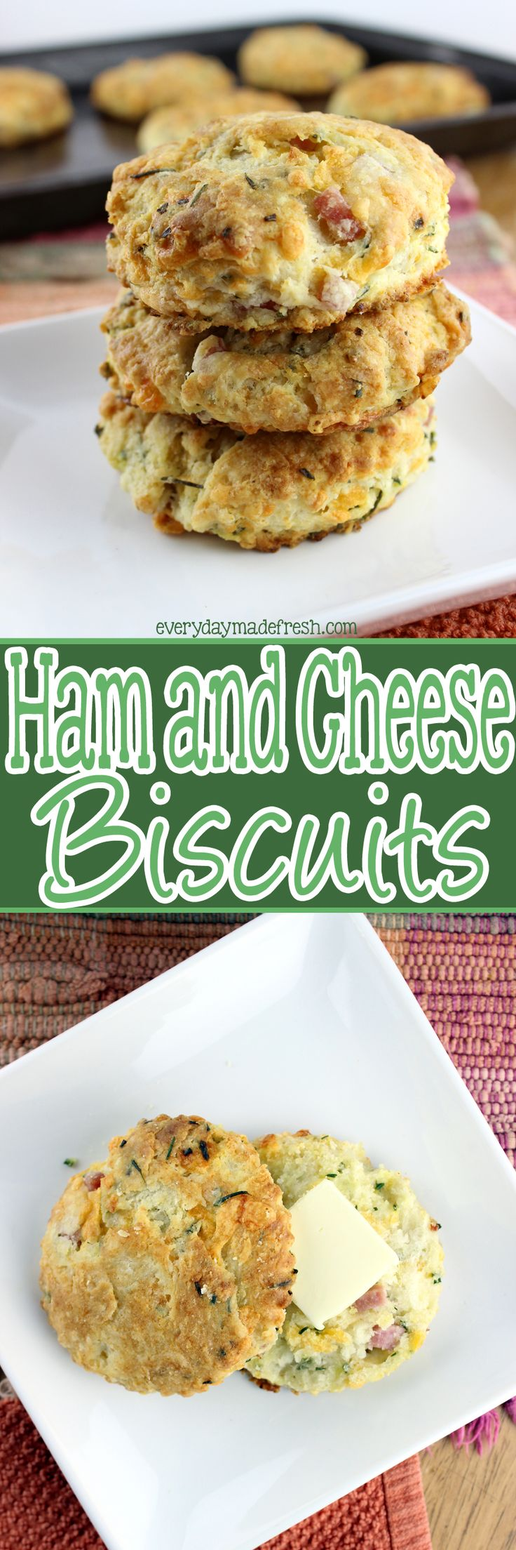 Who doesn't love a fluffy homemade buttermilk biscuit? Ok, so who wants a simple to make fluffy homemade buttermilk biscuit with chunks of ham and cheese? These Ham and Cheese Biscuits are everything you'd ever want in a biscuit! | EverydayMadeFresh.com http://www.everydaymadefresh.com/ham-cheese-biscuits/