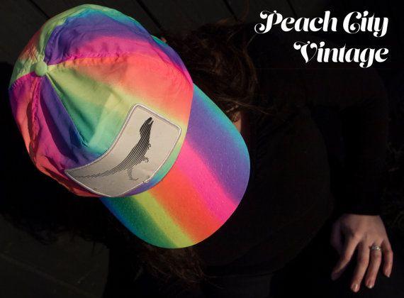 90's Neon Dinosaur Hat by PeachCityVintage on Etsy