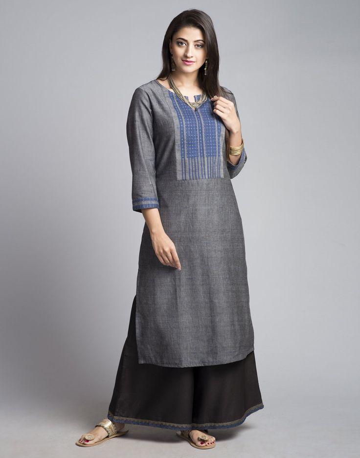 Cotton FabricKnee Length KurtaPlainExtra WeftRound Neck with Slit3Q SleevesA-lineHand Wash Separately in Cold Water