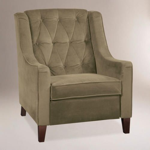 Coffee Victoria Velvet Tufted High Back Chair: Brown   Fabric By World  Market