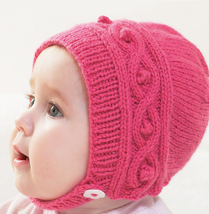 Free Knitting Pattern for Cable Baby Bonnet - Sizes 0-6 months, 6-12 months, 1-2 years Designed by HobbyCraft. DK weight