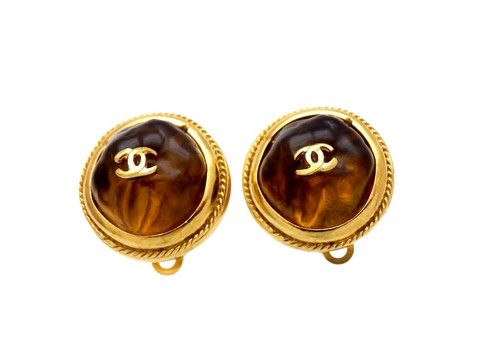 Vintage Chanel earrings CC logo gold stone round by Chanel | Vintage Five