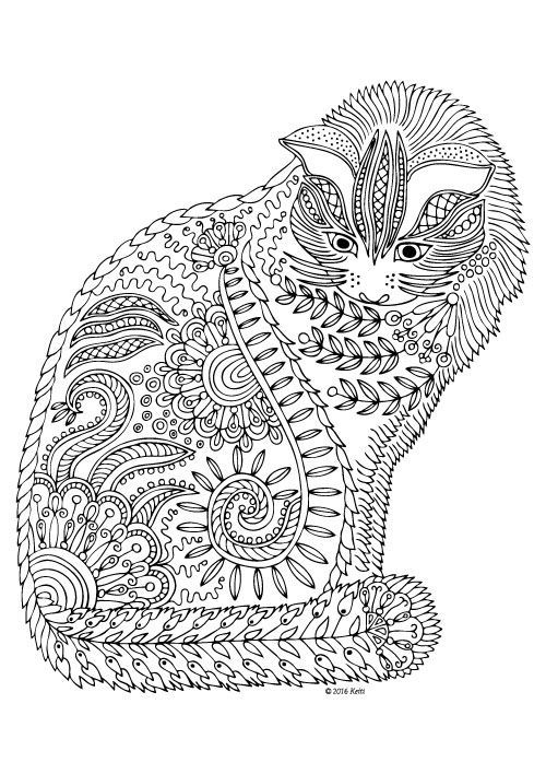 Pin by Finer Color on Coloring in Dog coloring page, Cat