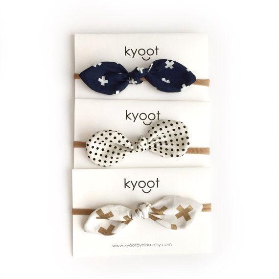 Baby Nylon Headband, Top Knot Bow Headband, Fabric Bow Headband, set of three…
