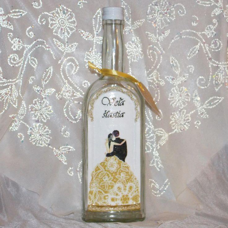 Darčeková fľaša k sobášu Veľa šťastia