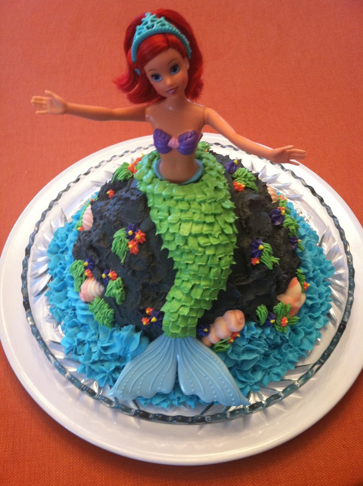 Ariel Cake Made With A Wilton Barbie Cake Mold And A