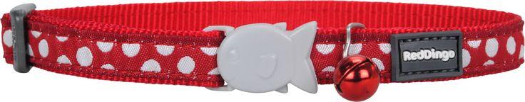Red Dingo Designer Cat Safety Collar - Polka Dot (White on Red)