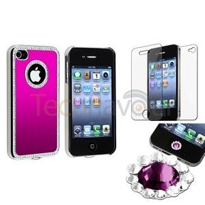 Hot Pink Bling Luxury Cover Case For iPhone 4 4G 4S+Purple Diamond Sticker+SPT | eBay