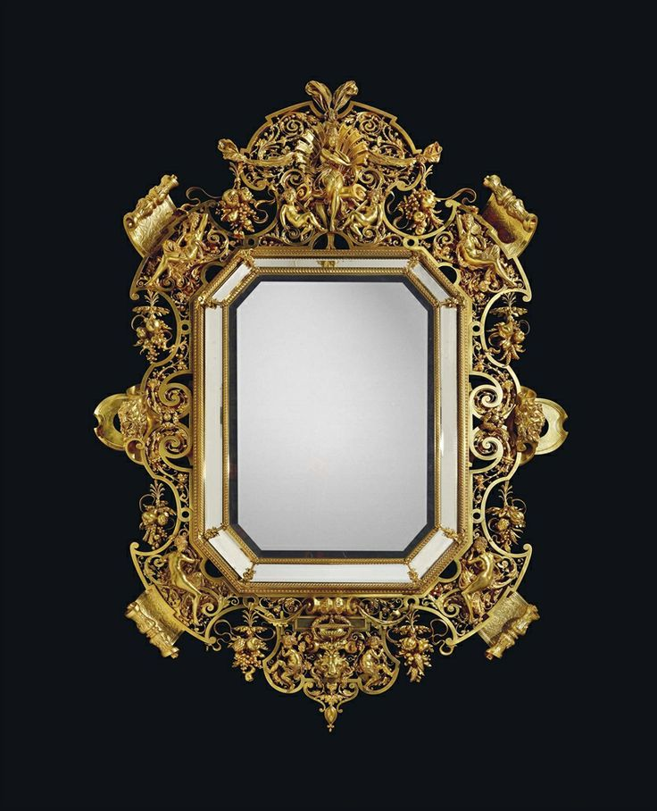 AN IMPORTANT NAPOLEON III ORMOLU MIRROR BY FERDINAND BARBEDIENNE, TO A DESIGN BY ALBERT-ERNEST CARRIER-BELLEUSE AND DESIRÉ ATTARGE, PARIS, THIRD QUARTER 19TH CENTURY