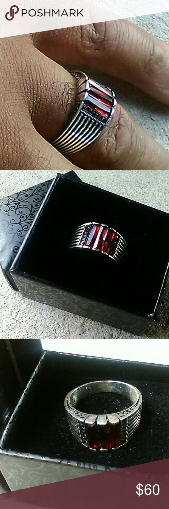 Turkish Handmade Ottoman Style 925 Sterling Silver Turkish Handmade Ottoman Style 925 Sterling Silver Garnet Stone Men's Ring Sz 10  With box and cushion pillow for ring. Handmade Accessories Jewelry