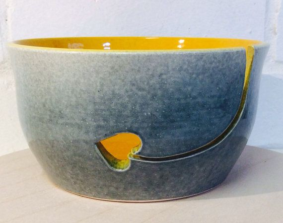 Yarn Bowl glazed in Grey and Amber with heart by EarthWoolFire, £45.00