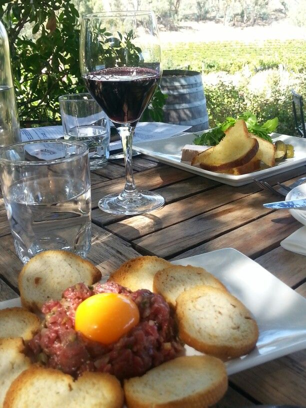 Having a great lunch @ Skillogalee with Steak Tartare and Duck Parfait to start with