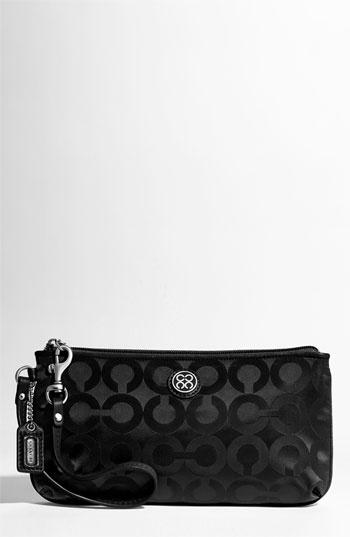 ... Coach Julia Signature Nylon Go Go Capacity Wristlet Bag Case 45381 Black  ... d14337bfce289