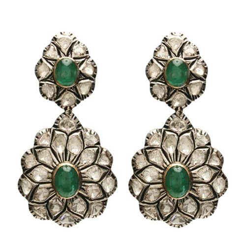 8k Gold earring with rose cut diamonds and large cabochon emeralds. On the reverse side is 18k gold filigree design. 10 CT Rose Cut Diamonds. 18 CT Colombian Emeralds.