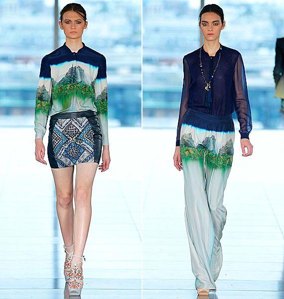 A selymes anyagok és elmaszatolódott minták eleganciája, vagány és nőies változatban.