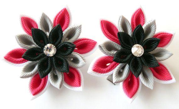 Kanzashi Fabric Flowers. Set of 2 hair clips. Pink black by JuLVa